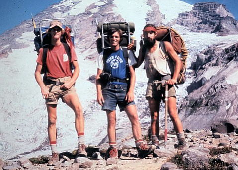 <b>THE THREE AMIGOS:</b>  Greg Hummel (left), Jeff Zimmerman (center), and Paul Hacker met while hiking the Pacific Crest Trail in 1977. They are shown after climbing Mount Rainier.
