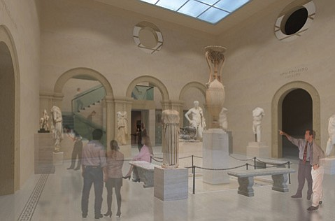 <b>A RENAISSANCE FOR ANTIQUITIES:</b>  This digital rendering shows one possible new look for the Santa Barbara Museum of Art's Ludington Court.