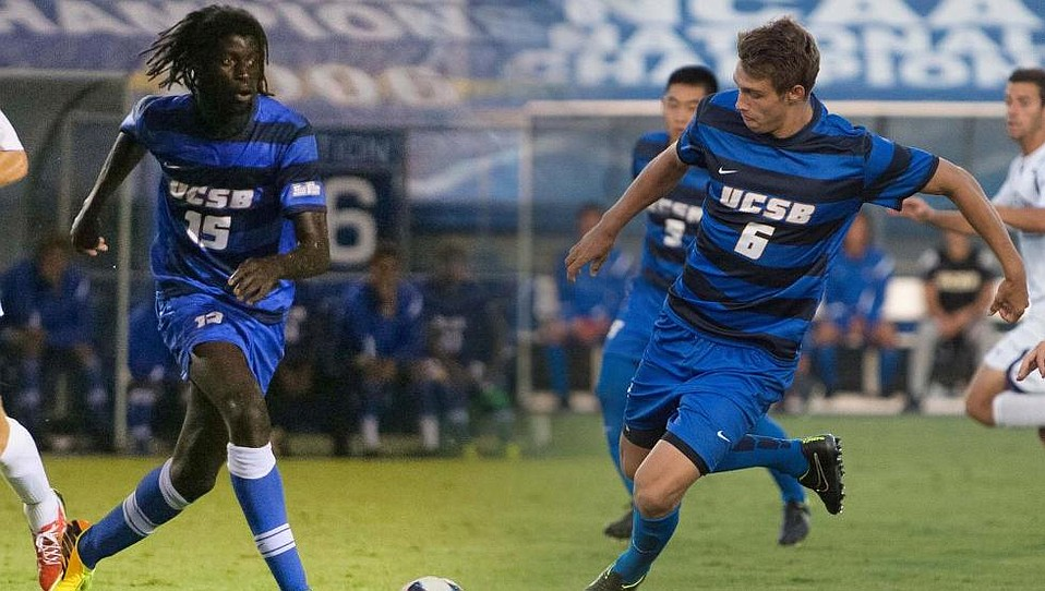 UCSB's soccer players Ismaila Jome (#16) and Nick DePuy (#6)