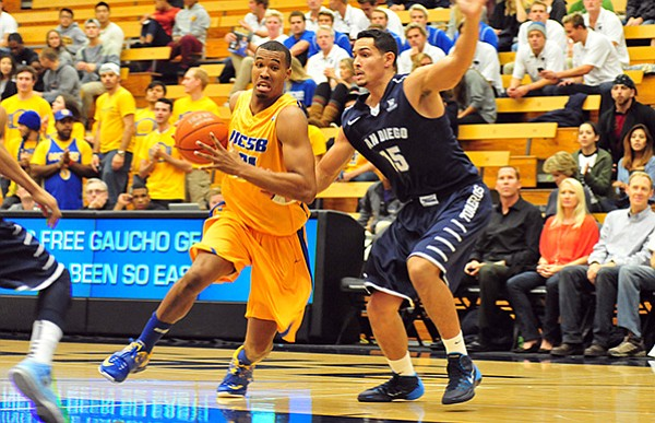 John Green, attacking the basket against San Diego's Thomas Jacobs, had a career-high eight rebounds to go with 10 points for UCSB.