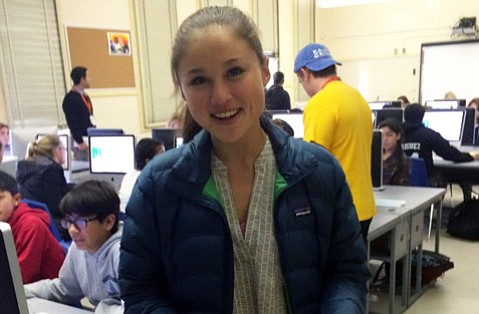 Makala Hieshima was one of the high school mentors at Santa Barbara Junior High's Hour of Code.