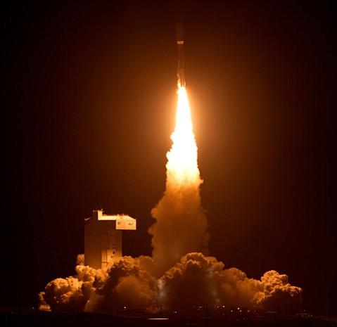 An Atlas V rocket blasts off from Vandenberg on Friday
