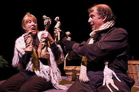 <b>LITTLE DICKENS:</b>  Victoria Finlayson and Stanley Hoffman use puppets to portray members of the Cratchit family in Lit Moon's Humbug!