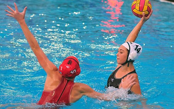 Paige Hauschild of San Marocs pressures Santa Barbara's Kristina Garcia.