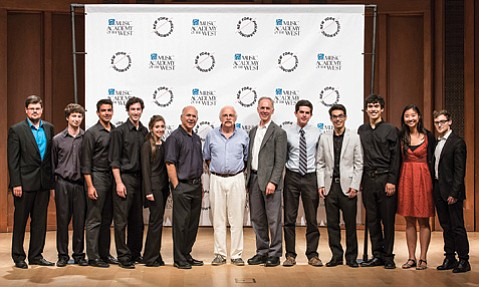 <b>EMPIRE STATE OF MIND: </b> Members of the N.Y. Philharmonic pose for a photo op with their new Santa Barbara students. Pictured (from left) are Simon Michal, Matthew Cohen, Anthony Bellino, Douglas Aliano, Genevieve Tabby, N.Y. Phil Principal Trombonist Joseph Alessi, N.Y. Phil Principal Flutist Robert Langevin, N.Y. Phil cellist Eric Bartlett, Charlie Rosmarin, Sean Krissman, Michael Severance, Jennifer Zhou, and William Shaub.