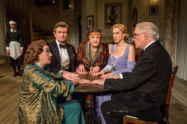 "GHOST STORIES: Susan Louise O'Connor (standing), Sandra Shipley, Charles Edwards, Angela Lansbury, Charlotte Parry and Simon Jones in the North American tour of Noël Coward's ""Blithe Spirit"" at the Center Theatre Group/Ahmanson Theatre hrough January 18, 2015."