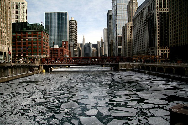 Chicago River iced up near Wells Street bridge.