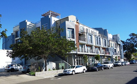 A new mixed-use building at Madrid and Embarcadero del Norte reflects Isla Vista's new look.