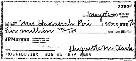 <b>GENEROUS TO A FAULT?</b>  Among the many, many checks Huguette Clark gave to those who tended her was this one to her nurse.