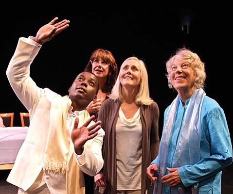HOMETOWN MEDIUM:  Santa Barbara playwright Rod Lathim credits a spiritual awakening with helping fuel his new production, titled Unfinished Business. The play stars (from left) Solomon N'Dungu, Katie Thatcher, Ann Dusenberry, Brian Harwell, and Marion Freitag.