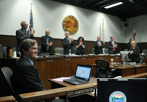 Paul Casey, far left, is named Santa Barbara's new city administrator