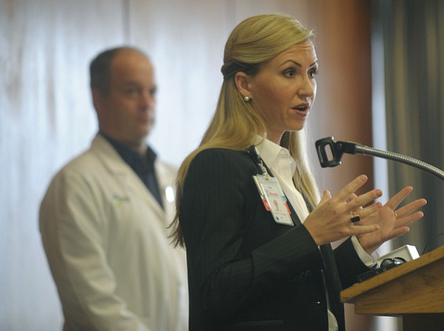 County health officer Dr. Charity Thoman and Sansum Infectious Disease specialist Dr. David Fisk at a press conference to discuss California's outbreak of measles possibly reaching Santa Barbara County  (Jan. 28, 2015).