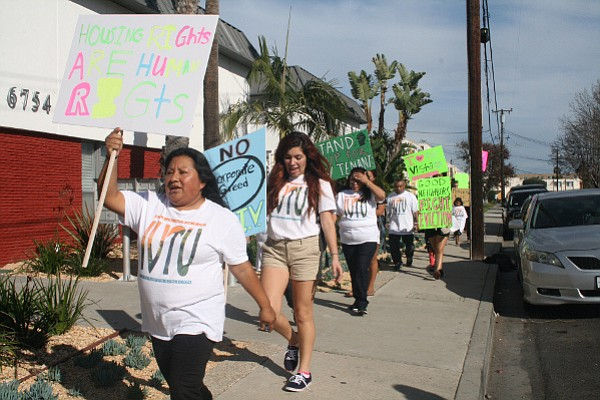 Evicted tenants and members of the Isla Vista Tenants Union protest wide-spread evictions on January 30.