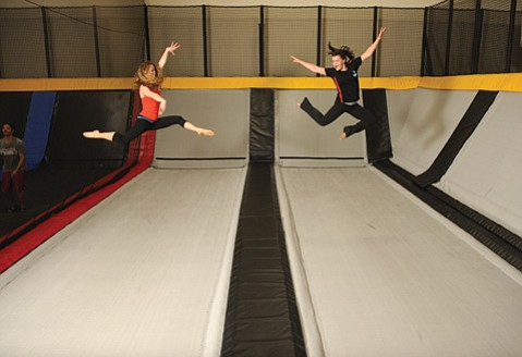<b>HIGH-FLYING: </b>Jenna Tatham (left) and Amy Richardson show their jumping talent at the Goleta trampoline club Cloud 10.