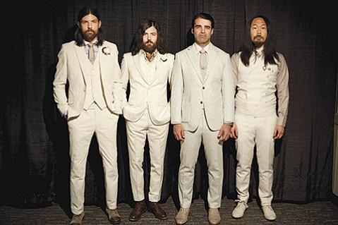 <strong>BAND OF BROTHERS:</strong>  The Avett Brothers (from left: Joe Kwon, Scott Avett, Bob Crawford, and Seth Avett) head to the Arlington this Tuesday in support of their latest album, Magpie and the Dandelion.