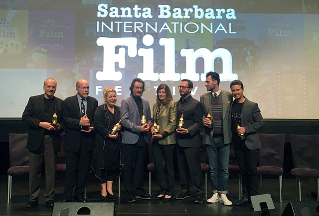 SBIFF 2015 The Variety Artisans Award recipients (L to R) Joe Letteri, Dawn of the Planet of the Apes & The Hobbit: Battle of the Five Armies, Richard King & Mark Weingarten (not pictured), Interstellar (Sound Mixing & Editing), Suzie Davies, Mr. Turner (Production Design), Bill Corso & Kathrine Gordon (not pictured), Foxcatcher (Hair & Makeup) , Sandra Adair, Boyhood (Editing), Shawn Patterson, 'Everything is Awesome' from The Lego Movie (Song) Steven Noble, The Theory of Everything (Costume Design), and Dion Beebe, Into the Woods (Cinematography).