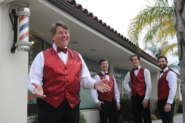 Brent Anderson with his barbershop quartet (L to R)  Kevin Cunningham (tenor), Chris Freeze lead (melody) Tobias Brown-Heft (baritone).  (Jan. 28, 2015