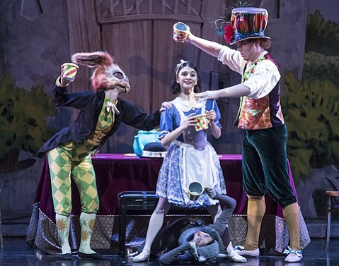 <b>TEA FOR THREE: </b> Scenes shared by the March Hare (Leila Drake Fosek), Alice (Lilit Hogtanian), and the Mad Hatter (John Christopher Piel) provided plenty of comic relief in State Street Ballet's <i>Alice in Wonderland</i>.