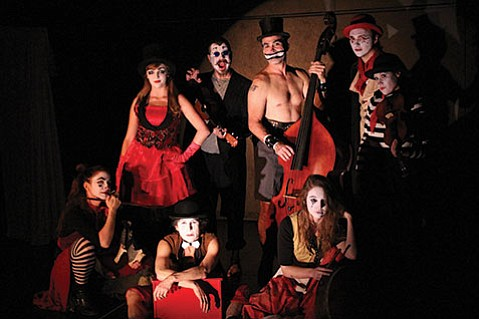 <b>SEND IN THE CLOWNS:</b>  Cast members of La La La Strada portray characters out of the films of Federico Fellini.