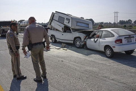 The driver of this pick-up truck was killed when he entered the highway in the wrong direction