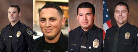 The arrested officers, from left to right: Detective Matthew Hill, Officer John Reya, Officer David Garcia, and Sergeant Joseph Stetz