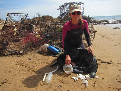 Volunteers cleaned up 1,300 pounds of trash from Santa Cruz Island, including broken and abandoned fishing gear.