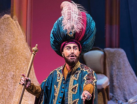 <b>HE'S THE BOSS:</b>  Stefano de Peppo lays down the law as Mustafà in Opera Santa Barbara's L'Italiana in Algeri.
