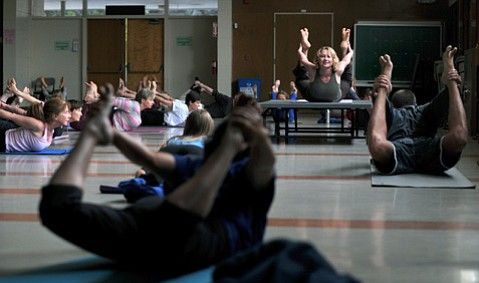 An Adult Ed yoga class in 2010