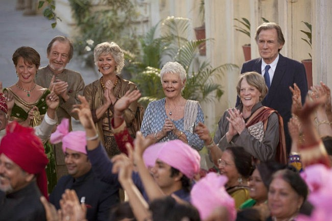 THE GANG'S ALL HERE: Judi Dench, Maggie Smith, and Bill Nighy reunite for <em>The Second Best Exotic Marigold Hotel</em>.