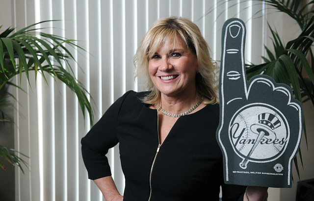 Joanne Funari, Bank of Santa Barbara's executive vice president and chief operating officer and Yankee's fan (Feb. , 2015)