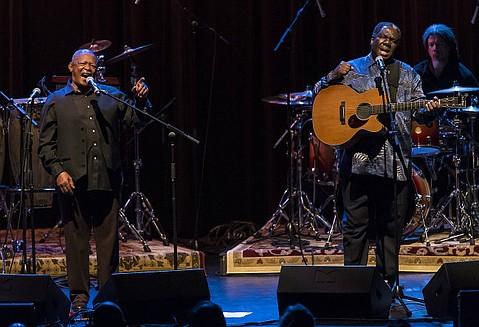 Hugh Masekela and Vusi Mahlasela at UCSB's Campbell Hall