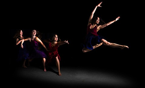 <b>TAKE THE LEAP:</b>  PICTURED FROM LEFT: Nebula Dance Lab's Genevieve Hand, Meghan Morelli, Megan Ragland, and Weslie Ching. The company, spearheaded by choreographer Devyn Duex, is the launching pad for Duex's new HH11 Dance Festival, which takes place this Friday-Sunday at Center Stage Theater.