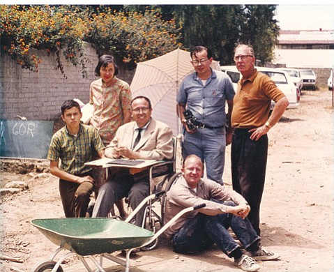 Michael Hardwick  Joining Jeremy Hass (seated) on the Presidio dig were Russell Clay Ruiz (left), Alice Ruiz, Russell Antonio Ruiz, Michael Hardwick, and Richard Whitehead, circa 1970.