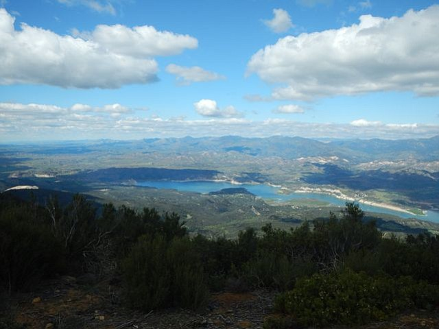 A mostly empty Lake Cachuma, seen from Broadcast Peak
