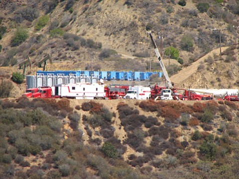 A fracking operation in the Sespe Oil Field.