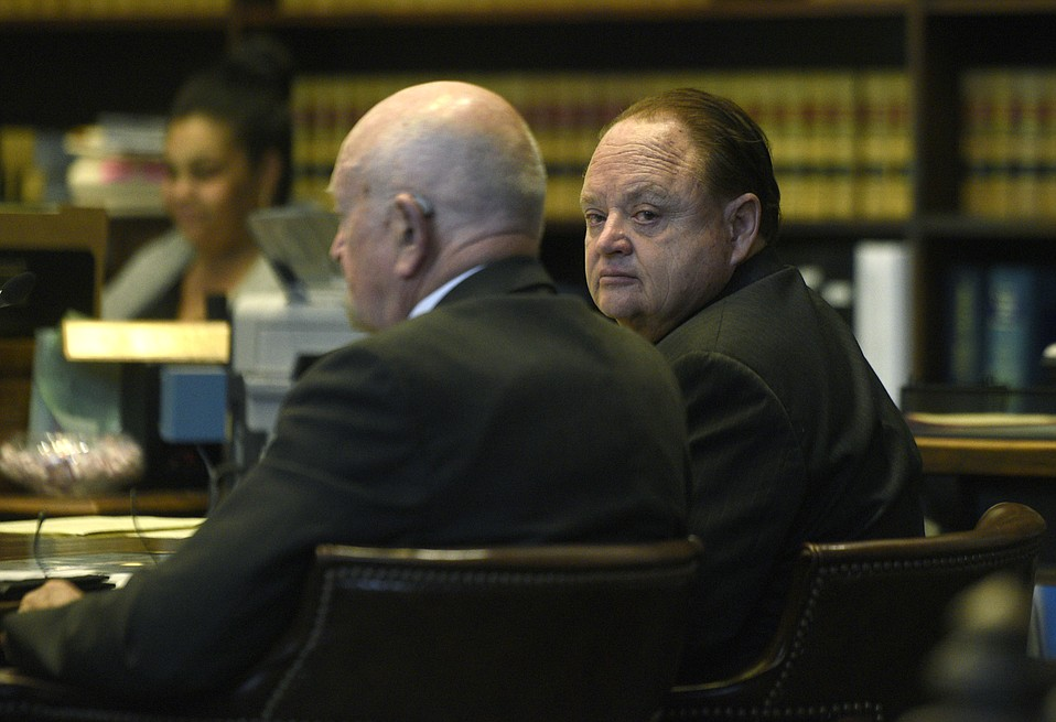 Richard Box (right) sits with his attorney Steve Balash during sentencing. (April. 7, 2015)