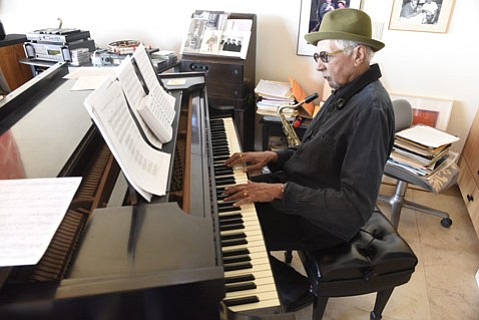 "<b>'CITO CAT:</b>  Pictured here at his home in Montecito, saxophonist Charles Lloyd comes to the Lobero this Tuesday, April 28. ""I like playing here at home,"" said Lloyd of his upcoming show. ""The people who are inviting us — they care. It's like that."""
