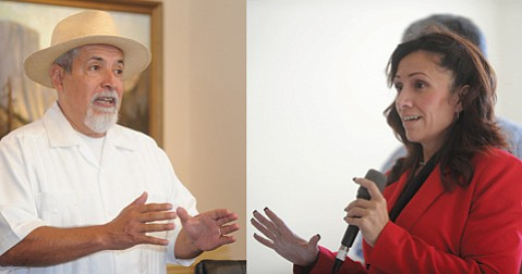 <b>INTO THE FRAY:</b> Sebastian Aldana (left) and Jacqueline Inda are running to represent the city's Eastside.