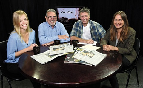 L to R Lyz Hoffman, Jerry Roberts, Nick Welsh, and Kelsey Brugger on the City Desk set. (April 23, 2015)