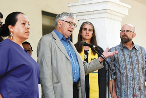 "<b>WHAT RECOVERY?</b>  Labor historian Nelson Lichtenstein (at microphone) detailed how wages have gone down — not up — despite the recovery and how Santa Barbara workers have been victimized by various forms of ""wage theft."""