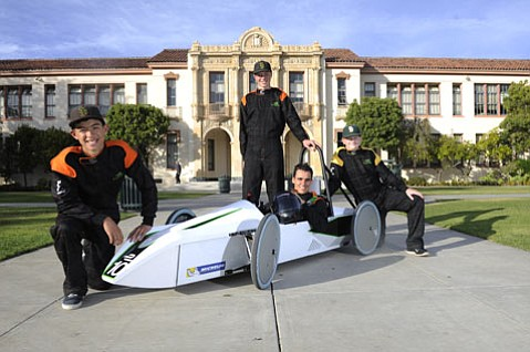 <b>ELECTRIC MOTOR SPORTS:</b> (from left) Santa Barbara High's Xavier Speer, Jeremy Knight, Liam Gallant, and Will Hahn.