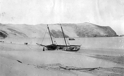 San Miguel Island ended the seafaring hopes of the Kate and Anna, a seal-hunting schooner that crashed into Cuyler's Harbor in 1902.