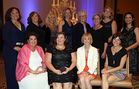 Spirit of Entrepreneurship Winners 2015: Front row, from left: Lisa Grossman, Nannies2Go (Professional Services): Dr. Elizabeth Wisniewski, Genuine Chiropractic (Emerging Business); Dorothy Largay, Linked Foundation (Rock Star), and Kim Wiseley, Flutter Magazine (Media/Communications)