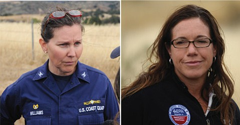 <b>WHO'S IN CHARGE:</b> Calling the shots in the official cleanup effort are U.S. Coast Guard Captain Jennifer Williams (left) and U.S. Environmental Protection Agency on-scene coordinator Michelle Rogow (right), who told the Board of Supervisors this week they would not leave town until the job was done.