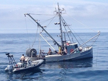 A fishing boat is intercepted off Refugio by Fish & Wildlife.
