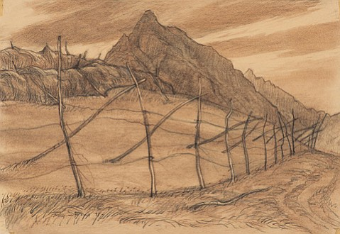 "<b>FIELDS OF GOLD:</b>  Ray Strong used graphite and Conté crayon to create the 1971 piece ""Field Near Assisi,"" now on display as part of Ray Strong: Beyond Santa Barbara at SBMA."