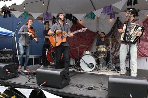 """<b>THE UNEXPECTED:</b>  """"We have the most efficient way of getting you to dance,"""" said We The Folk member and Santa Barbara native David Childs (pictured far right on accordion). See and hear for yourself Monday, June 15, at SOhO."""