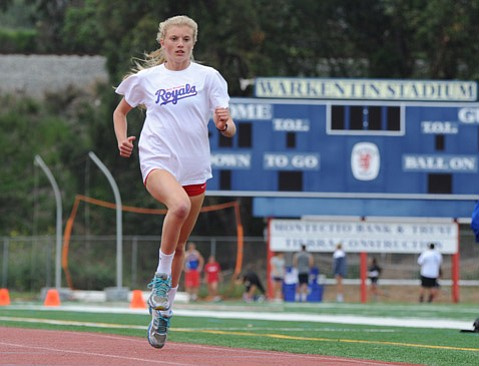 <b>DARK HORSE: </b> San Marcos sophomore Erica Schroeder (above) was the surprise winner at the girls' 800 meters last Saturday at the Buchanan High track in Clovis.