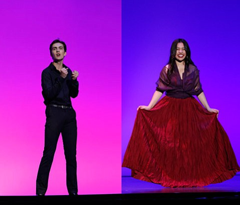 RISING STARS:  Blake Brundy (left) and Kat Monzon made the final round of  the 2015 Jerry Herman Awards at the Pantages Theater in Hollywood.