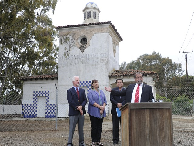 "Councilmember Roger Aceves announces Ty Warner's donation of the Barnsdall-Rio Grande station to Goleta. ""It's a proud day for the city,"" he said."